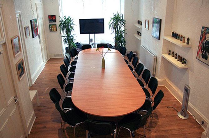 Main room at Blick Studios, Malone Road, Belfast, set up for conference
